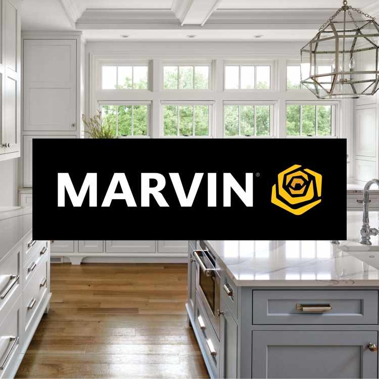 Marvin Windows logo with Marvin windows in background