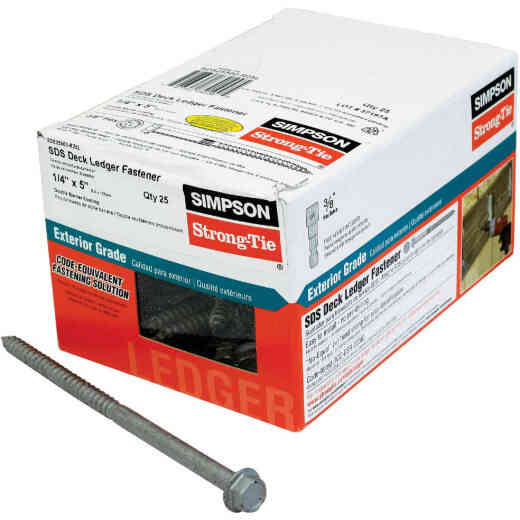 Simpson Strong-Tie Strong-Drive 1/4 In. x 5 In. SDS Ledger Deck Screw (25 Ct. Box)