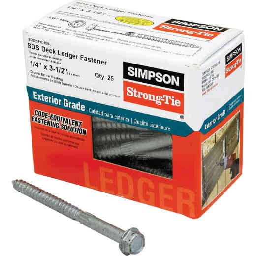Simpson Strong-Tie Strong-Drive 1/4 In. x 3-1/2 In. SDS Ledger Deck Screw (25 Ct. Box)