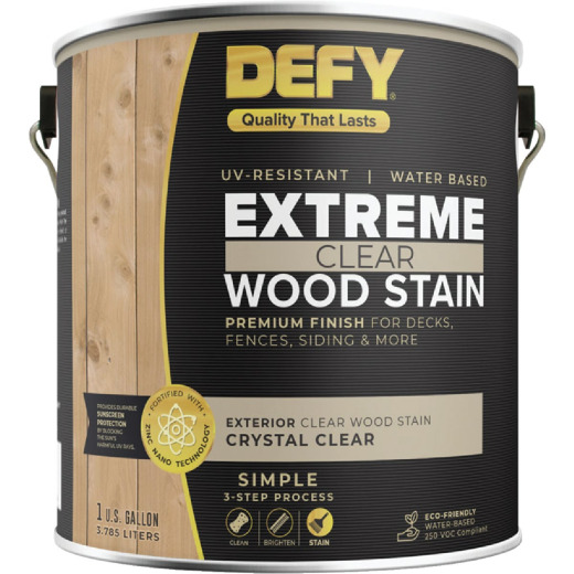 DEFY Extreme Transparent Exterior Wood Stain, Crystal Clear, 1 Gal. Can