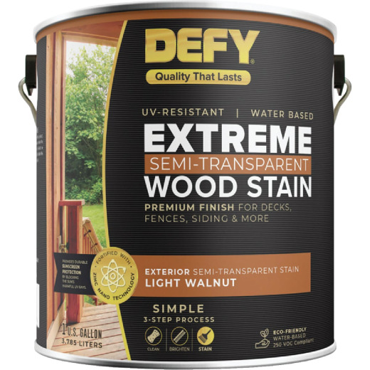DEFY Extreme Semi-Transparent Exterior Wood Stain, Light Walnut, 1 Gal. Can
