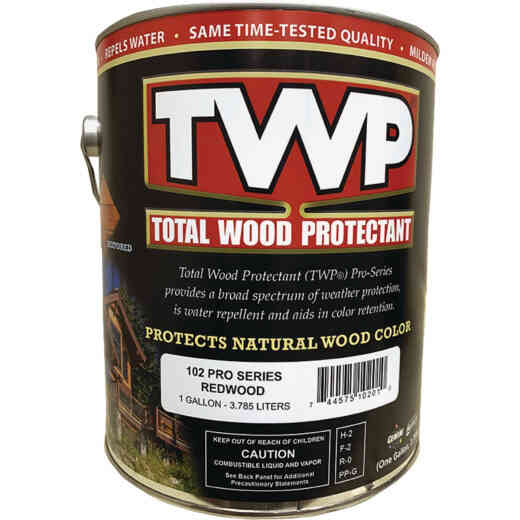 TWP100 Pro Series Semi-Transparent Wood Protectant Deck Stain, Redwood, 1 Gal.